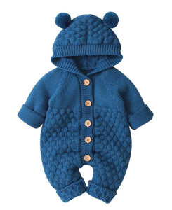 Winter button up bear onsie