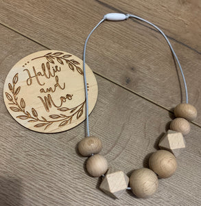 Wooden bead nursing necklace