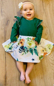 Long sleeve green romper and skirt set