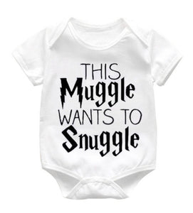 "Baby Halloween romper - ""this muggle wants to snuggle"""