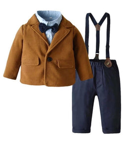 Boys suit set - brown jacket