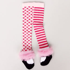 Girls stockings tights - pink spots and stripes