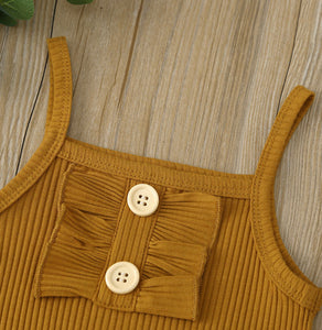 Girls Two piece set - white and brown