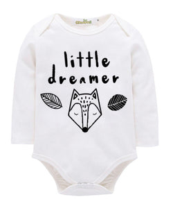 "Long sleeve ""little dreamer"" romper black or white"