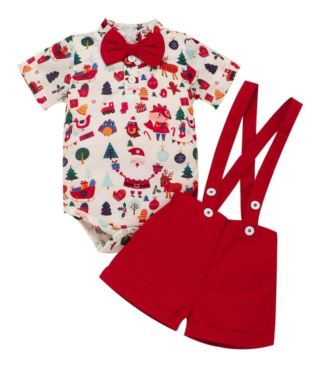 Boys Christmas overall set