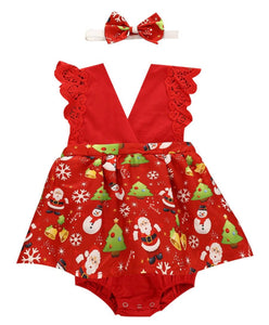 Baby girls Christmas romper - red