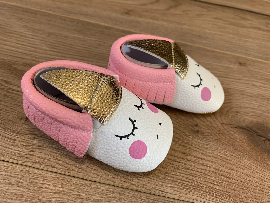 Girls soft sole unicorn shoes; pink