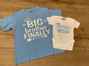 Matching brother and sister Tee and romper