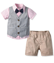 Load image into Gallery viewer, Boys short sleeve formal set - pink and grey