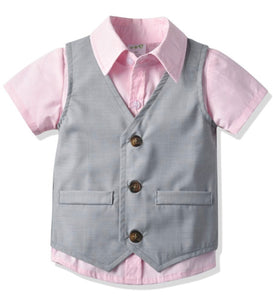 Boys short sleeve formal set - pink and grey
