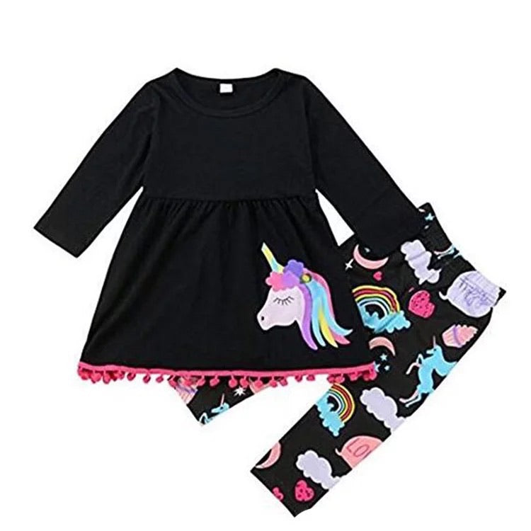 Light weight unicorn dress and tight set