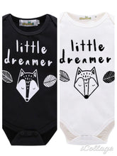 "Load image into Gallery viewer, Long sleeve ""little dreamer"" romper black or white"