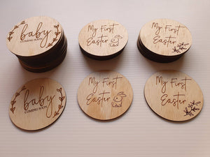 My first Easter and baby coming soon wooden Milestone plaques - seperate