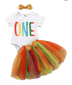 Girls first birthday set - rainbow tutu