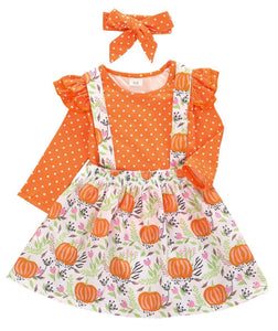 Girls halloween outfit - orange and white