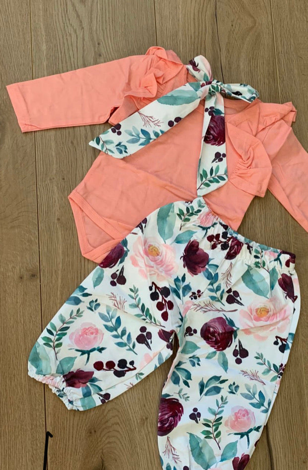 Three piece girls pant set- peach