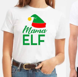 Family matching Christmas elf tshirts - Mama
