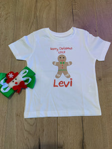 Personalised Christmas tee - gingerbread man