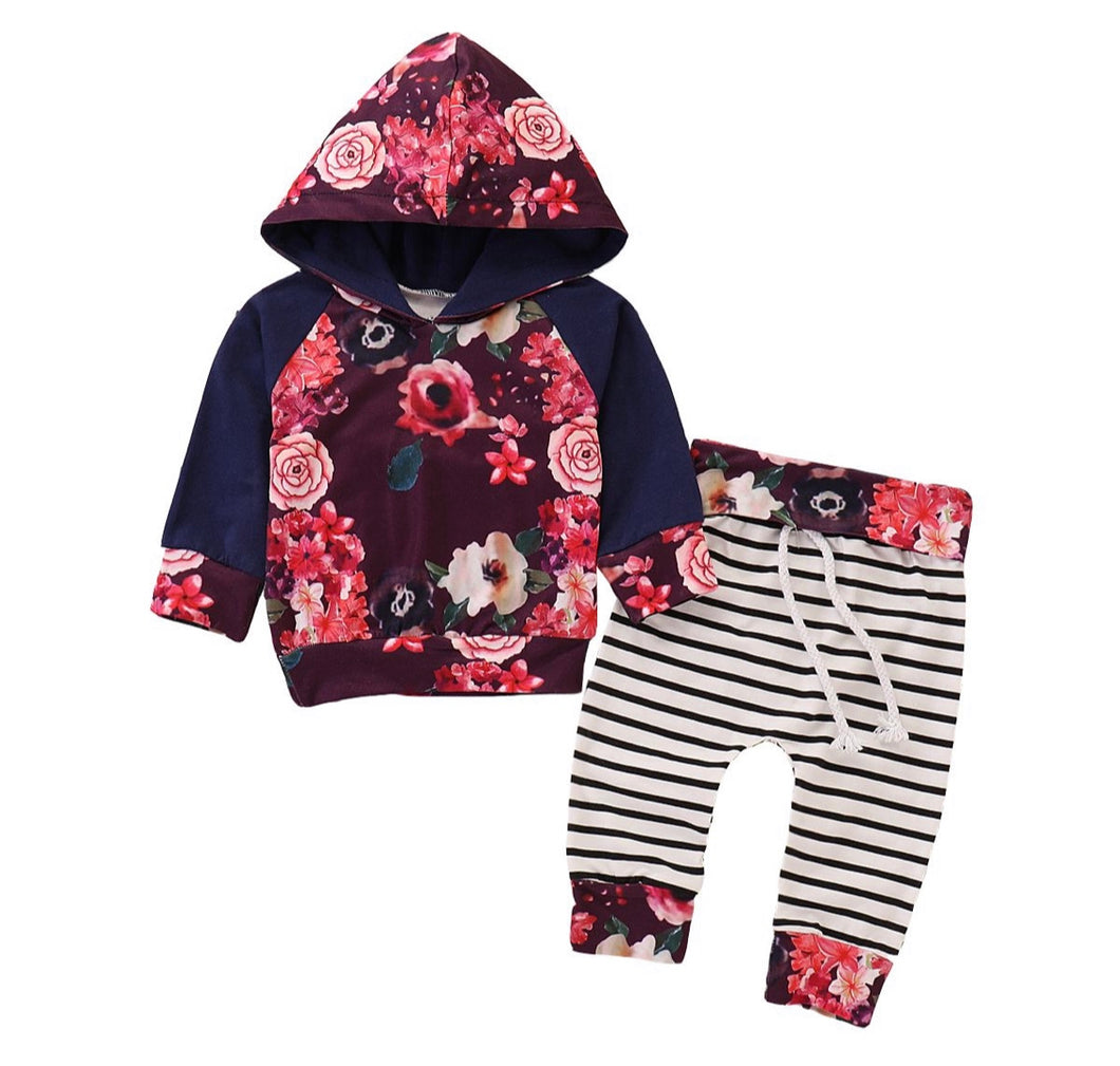 Floral and stripe girls tracksuit