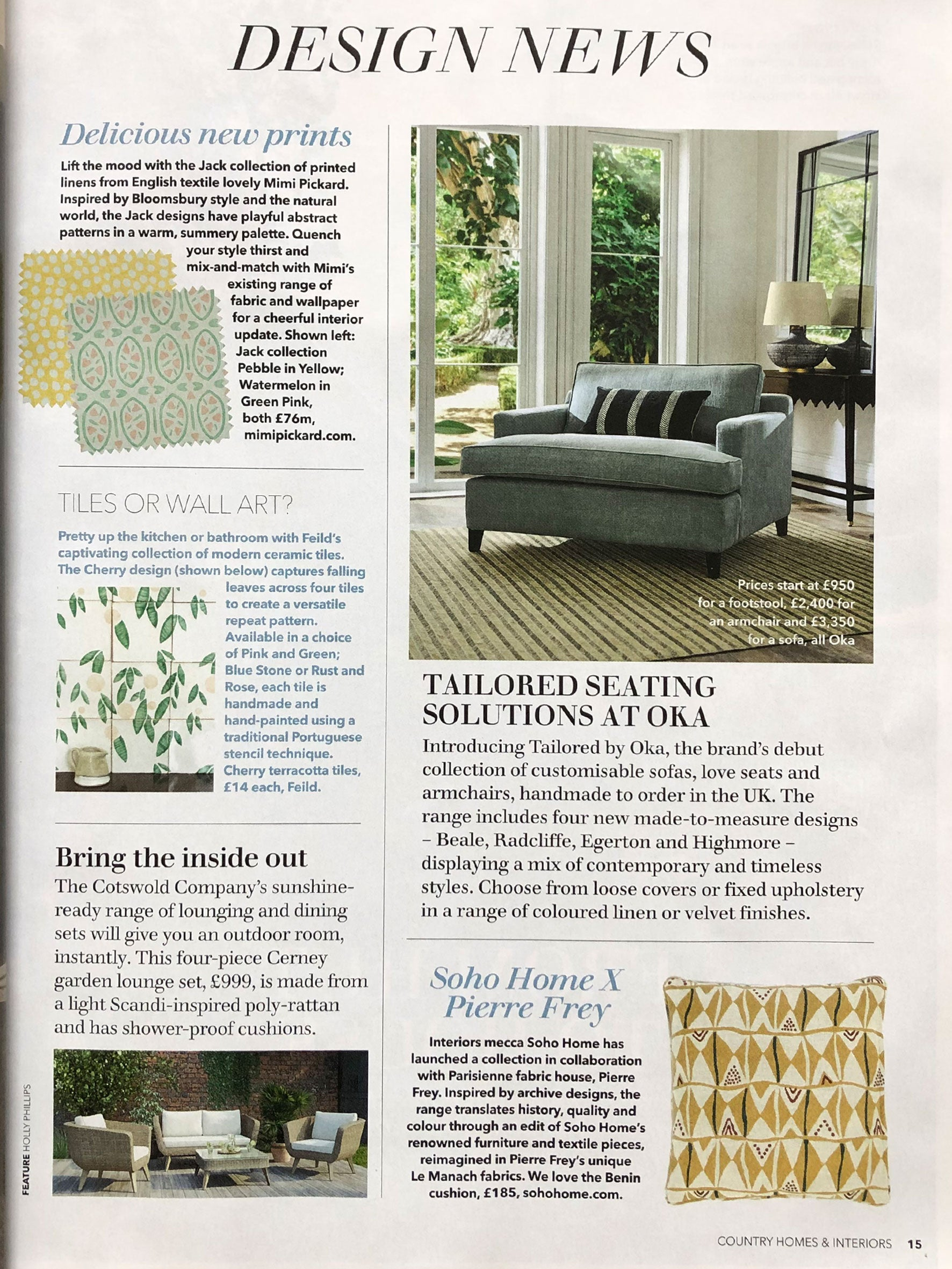 Image of Country Homes Article 'Tiles or Wall Art' featuring Feild tiles