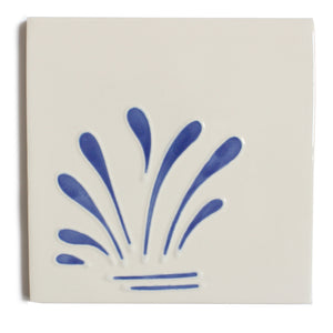 Spray hand painted tiles in Blue