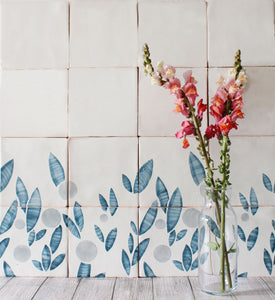 Cherry hand painted tiles in Blue Stone
