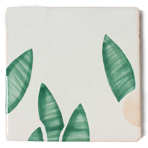 Cherry hand painted tiles in Pink & Green