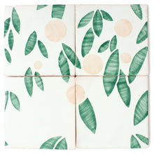 Load image into Gallery viewer, Cherry hand painted tiles in Pink & Green