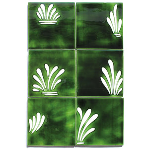 Spray hand painted tiles in Holly