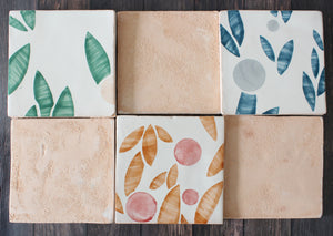 Cherry hand painted tiles in Rust & Rose