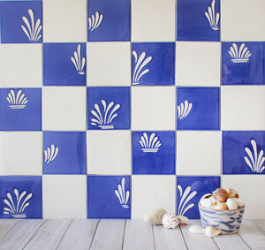 Plain glazed handmade ceramic tiles
