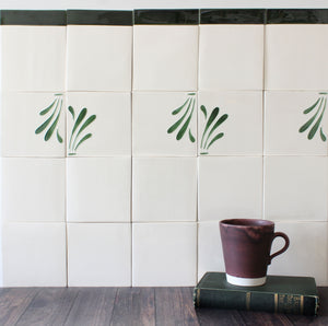Spray hand painted tiles in Pine