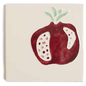 Pomegranate hand painted tiles in Pine