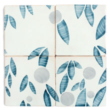 Load image into Gallery viewer, Cherry hand painted tiles in Blue Stone