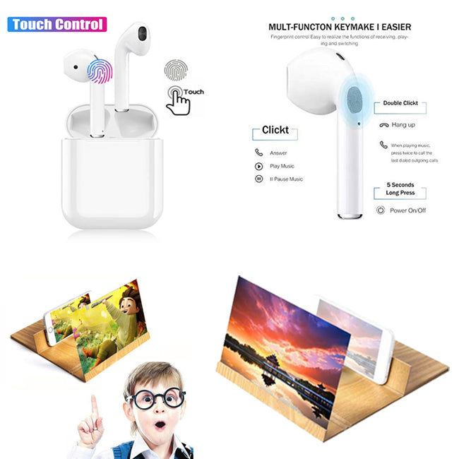 Combo of Screen Enlarger + Wireless EarBuds