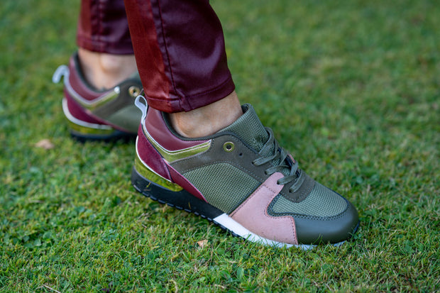 Army Green Burgundy & Pink Gold Trimmed Chunky Trainers