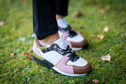 Tan, White & Pink Gold Trimmed Chunky Trainers