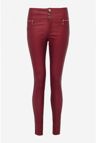 Wine High Rise Gold Button Leather Style Trousers