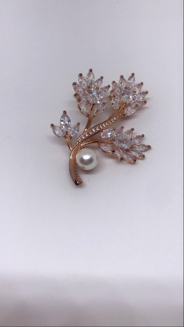 Rose Gold & Diamanté Brooch