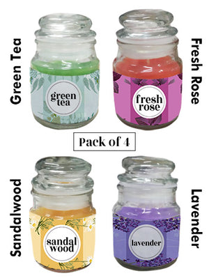 Scented candles set of 4 (green tea,sandalwood,rose,lavender fragrance)