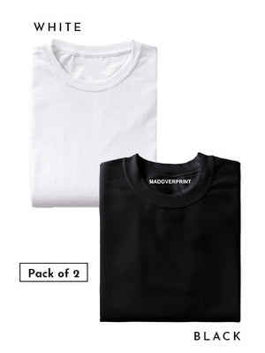 Basic Combo T-shirt Pack of 2 | White and Black (Men)