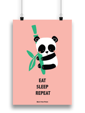 Eat Sleep Repeat Panda Poster