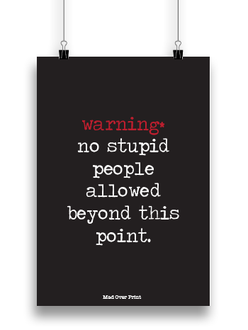 No Stupid People Poster