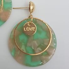 Load image into Gallery viewer, Love Marble Acrylic Earring - Pink & Green