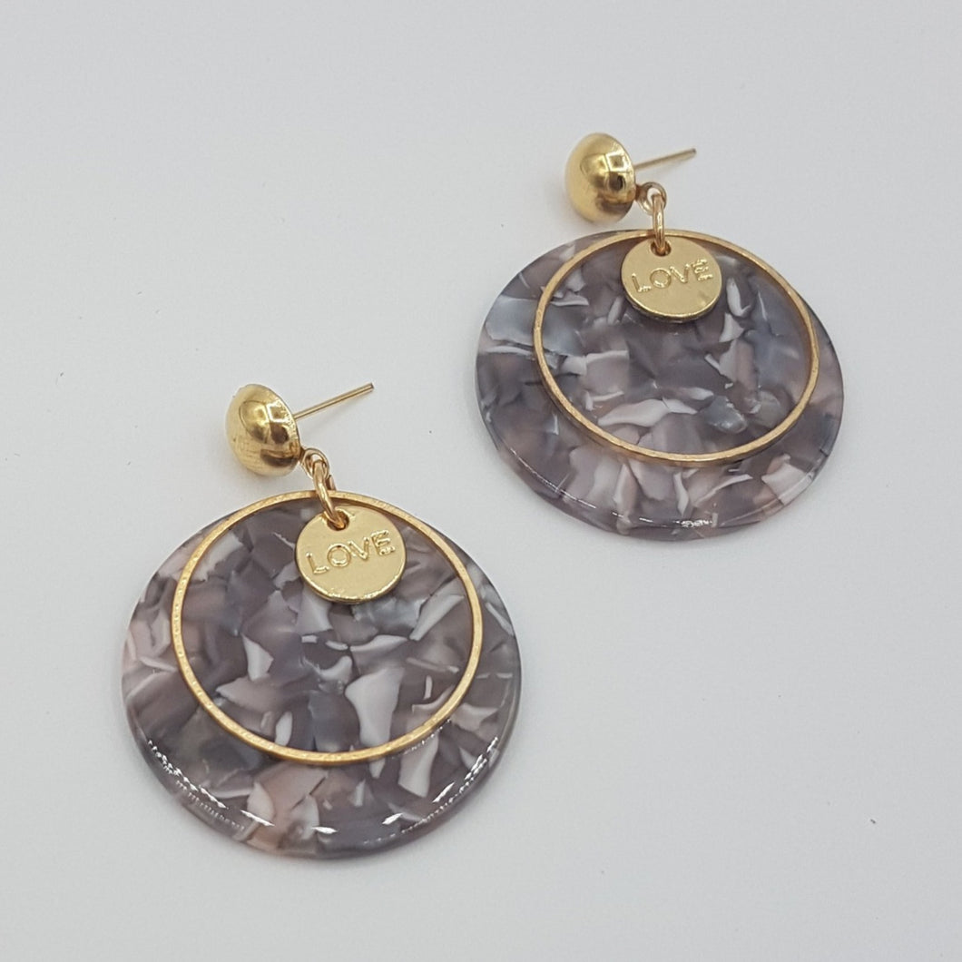 Love Marble Acrylic Earring - Purple
