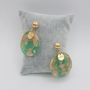 Love Marble Acrylic Earring - Pink & Green