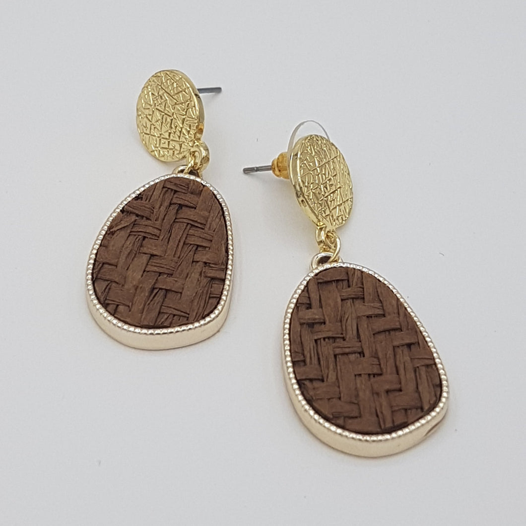 Criss Cross Brown Earrings