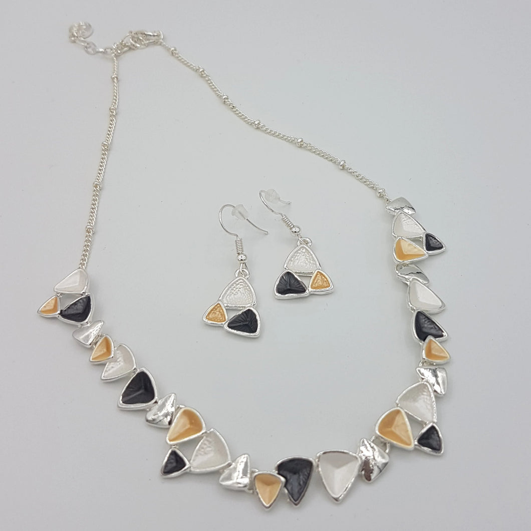 Triangle Necklace White Black Yellow
