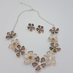 Flowers Colorful Necklace, Beige Brown & Silver