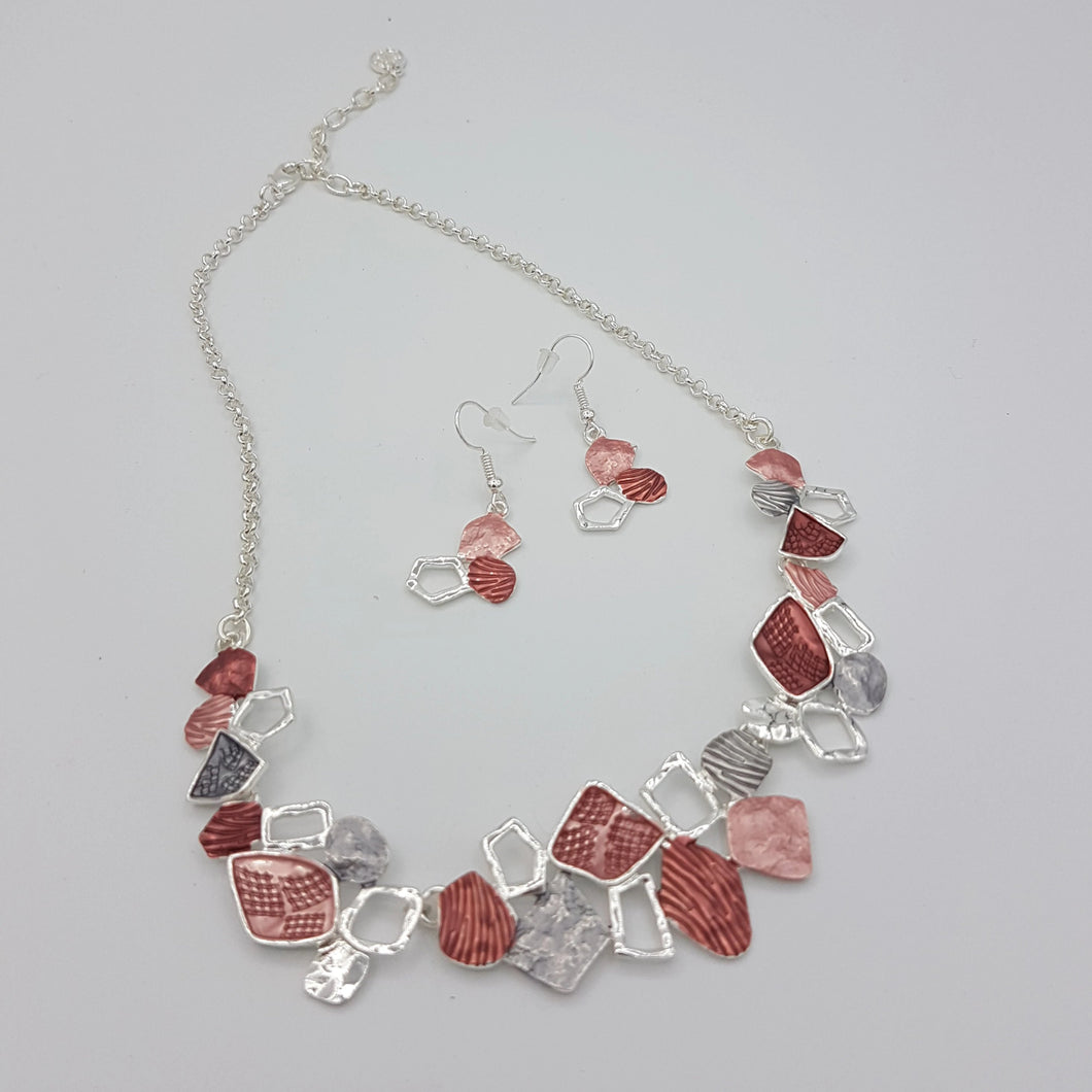 Colorful Necklace, Red Pink Silver